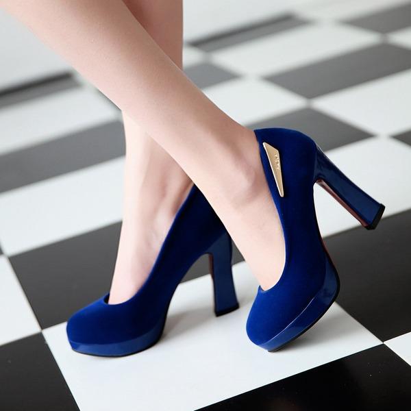 Naisten Mokkanahka Chunky heel Avokkaat Platform Suljettu toe jossa Paljetti kengät