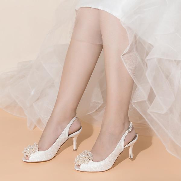 Women's Lace Satin Mesh Stiletto Heel Peep Toe With Buckle Flower Applique Pearl