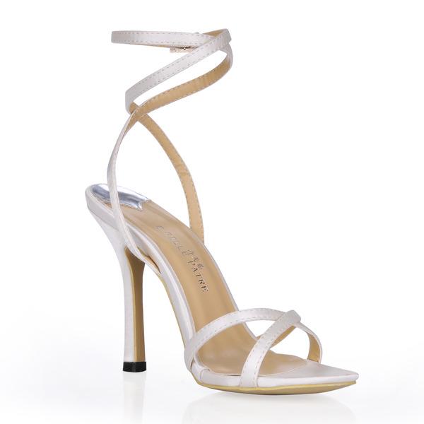 Women's Silk Like Satin Stiletto Heel Sandals Slingbacks With Buckle Rhinestone