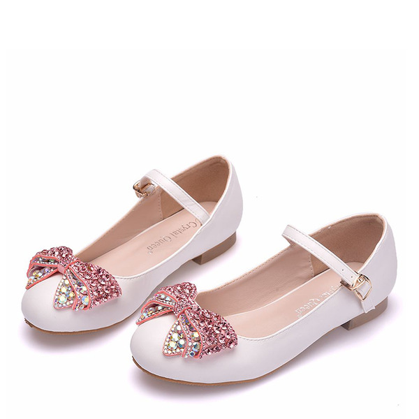 Jentas Round Toe Lukket Tå Mary Jane Leather Flate sko med Bowknot Spenne Crystal