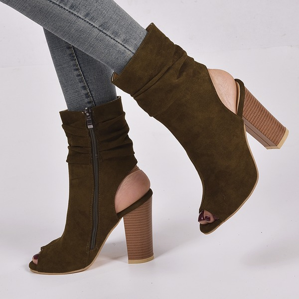 Women's Suede Chunky Heel Pumps Boots Peep Toe Slingbacks With Zipper shoes
