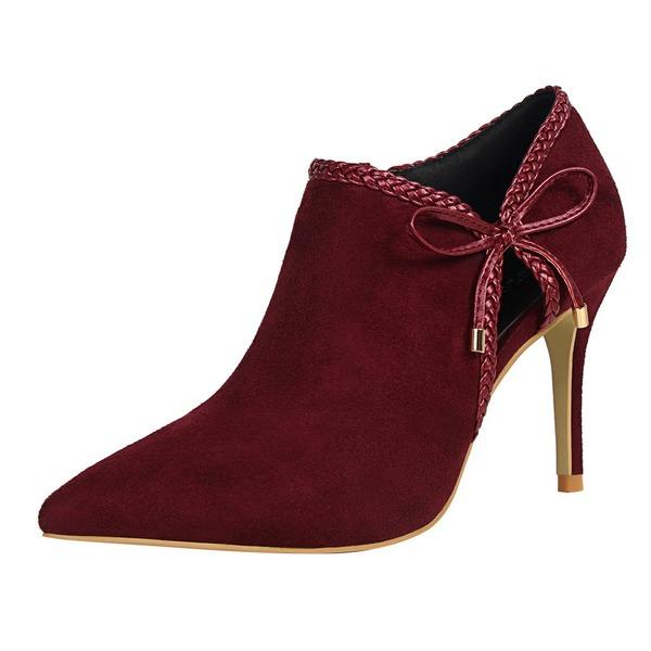Femmes Suède Talon stiletto Escarpins Bout fermé Bottines avec Motif appliqué chaussures