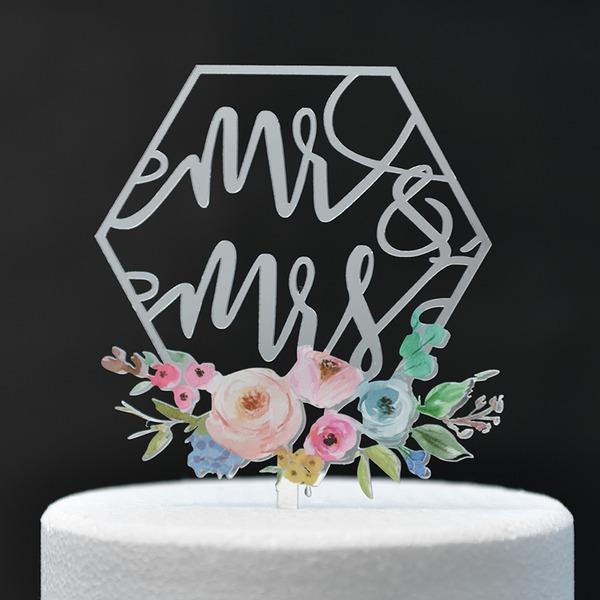 Couple classique/Mr & Mrs/Une fleur Acrylique Décoration pour gâteaux (Vendu dans une seule pièce)