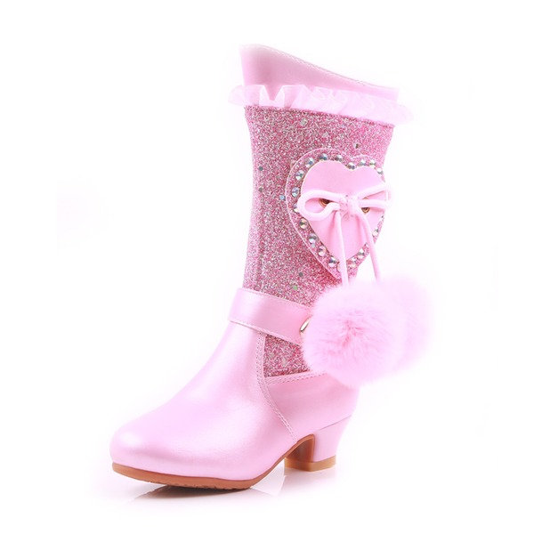 Mädchens Round Toe Geschlossene Zehe Stiefel-Wadenlang Leder niedrige Ferse Stiefel Blumenmädchen Schuhe mit Stich Spitzen Perle Bommel
