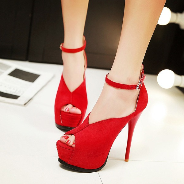 Femmes Similicuir Talon stiletto Sandales avec Boucle Ouvertes chaussures