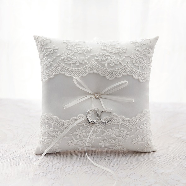 Square/Classic Ring Pillow in Polyester With Ribbons