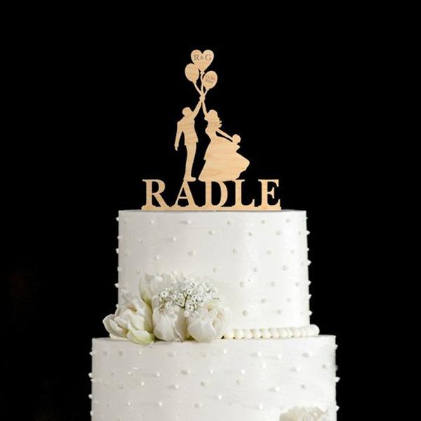 Personalizado Casal clássico Madeira Decorações de bolos
