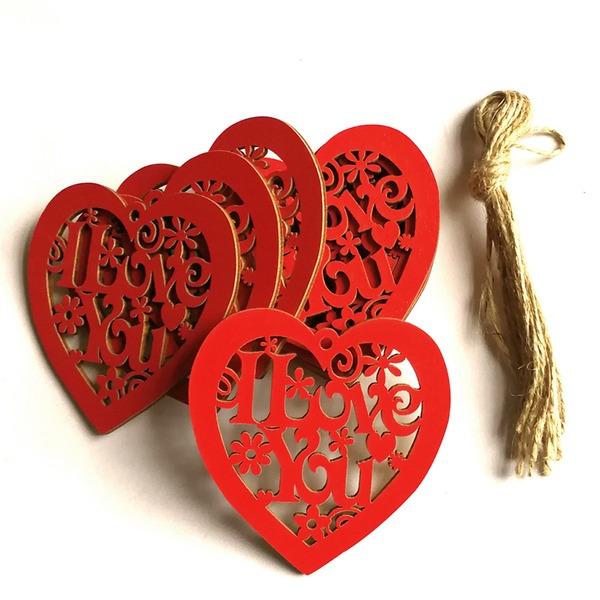 Heart Shaped Wooden Wedding Ornaments