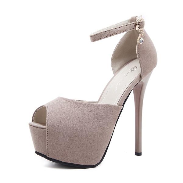 Frauen Veloursleder Stöckel Absatz Absatzschuhe Plateauschuh Peep Toe mit Schnalle Schuhe