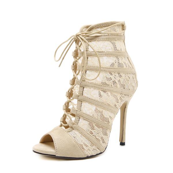Kvinder Ruskind Blonder Stiletto Hæl sandaler Pumps Kigge Tå med Lynlås Blondér sko
