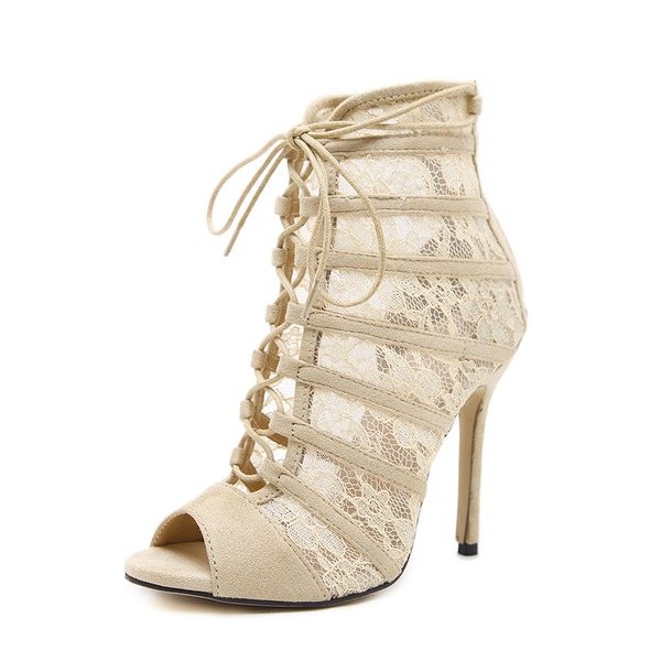 Frauen Veloursleder Lace Stöckel Absatz Sandalen Absatzschuhe Peep Toe mit Reißverschluss Zuschnüren Schuhe