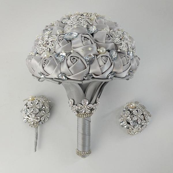 Rund Satin/Strass Blumen-Sets (Satz von 3) - Armbandblume/Knopflochblume/Brautsträuße