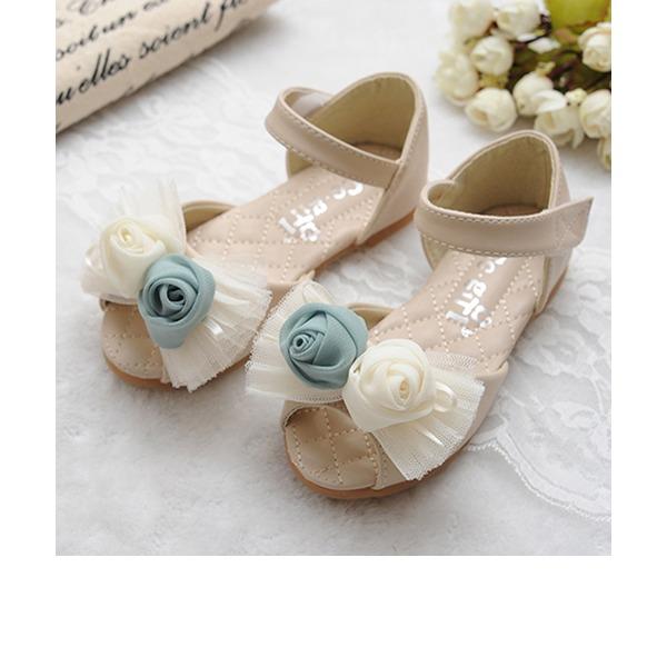 Mädchens Peep Toe Leder Flache Ferse Sandalen mit Bowknot Satin Schleife Klettverschluss