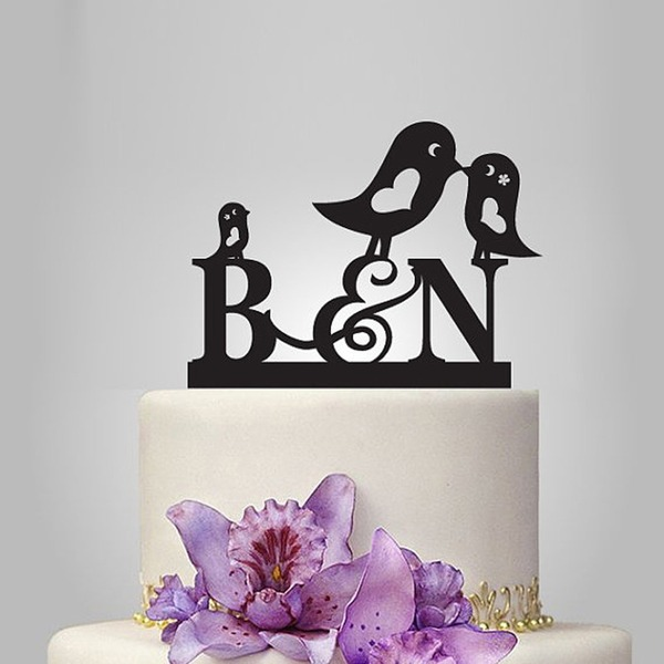 Personalized Lovely Birds Acrylic Cake Topper