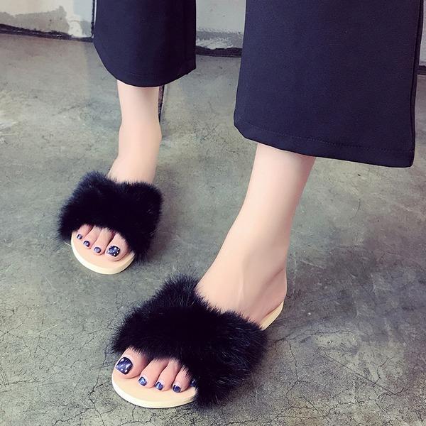 Vrouwen Flat Heel Flats Slippers met Bont schoenen