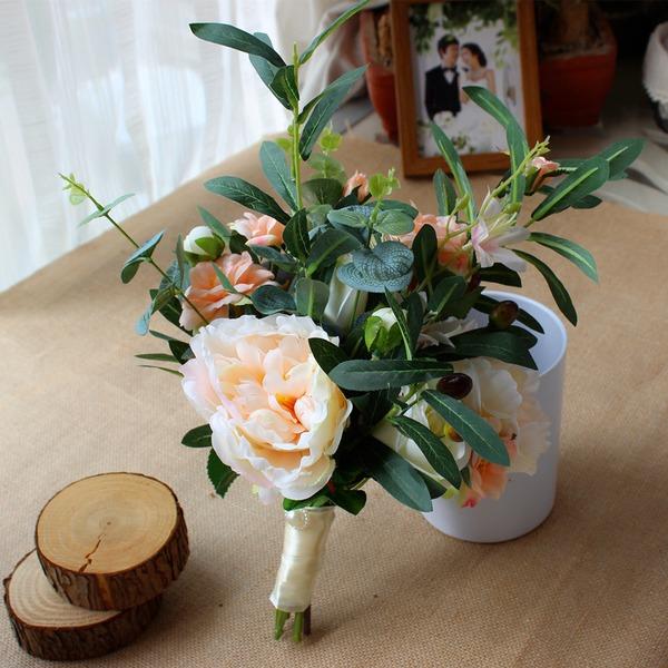 Käsin Sidottu Satiini Morsiamen kukkakimppuihin/Morsiusneito Kukkakimppuihin (myydään yhtenä kappaleena) -