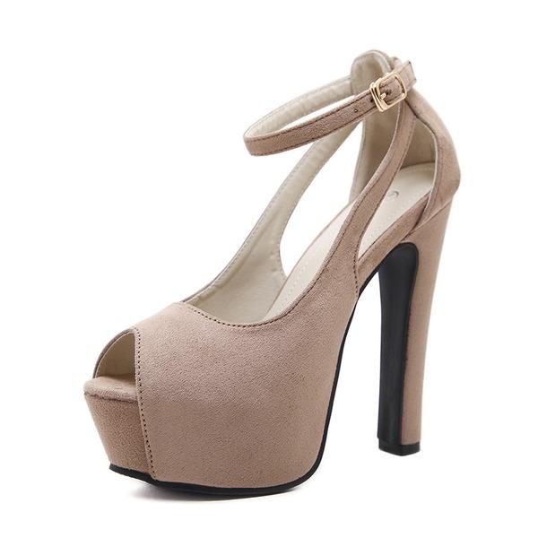Mulheres Camurça Salto agulha Sandálias Bombas Plataforma Peep toe com Fivela sapatos