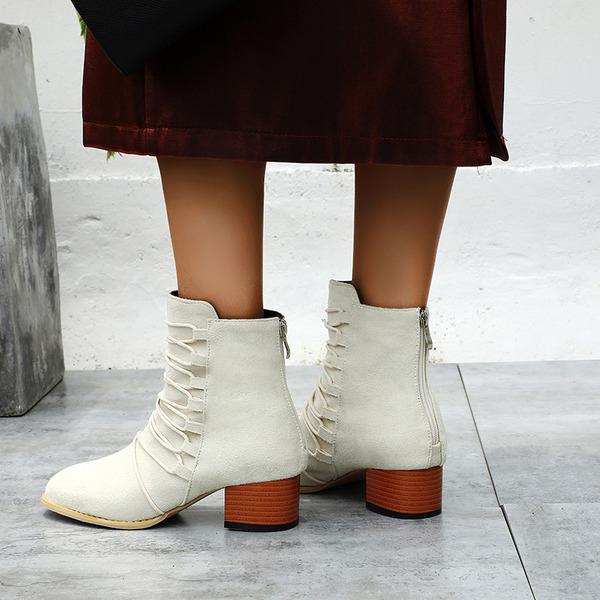 Suede Chunky Heel Wedges Slippers met Rits Vastrijgen schoenen