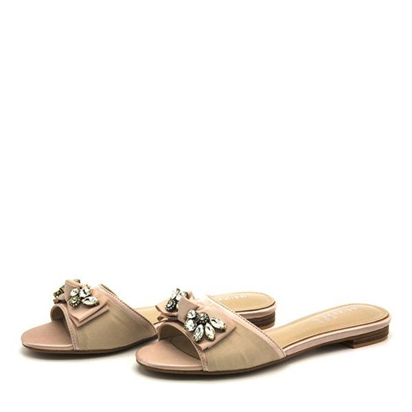 Naisten PVC Matalakorkoiset Heel Sandaalit Matalakorkoiset Tossut jossa Tekojalokivi Bowknot kengät