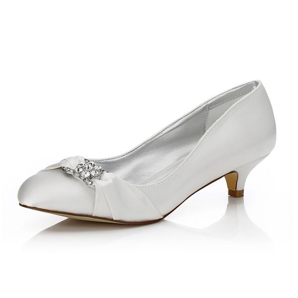 Kadın Saten Alçak Topuk Kapalı Toe Pompalar Boyanabilir ayakkabılar Ile Yapay elmas
