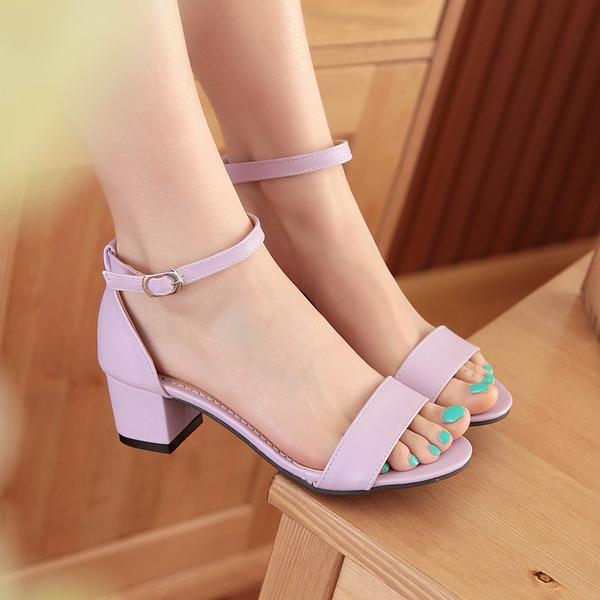 Vrouwen Kunstleer Chunky Heel Sandalen Pumps Peep Toe schoenen