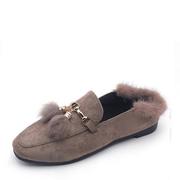 Frauen Veloursleder Flascher Absatz Flache Schuhe Geschlossene Zehe mit Quaste Pelz Schuhe