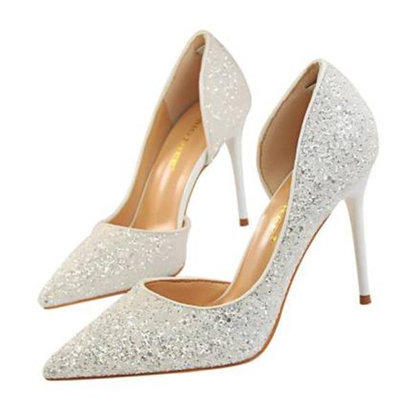 Kvinnor Glittrande Glitter Stilettklack Sandaler Pumps Stängt Toe skor