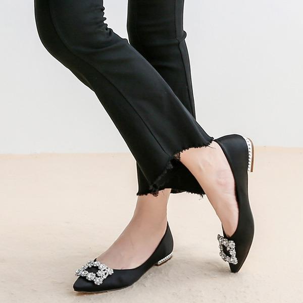 Femmes Soie comme du satin Talon plat Chaussures plates avec Cristal chaussures