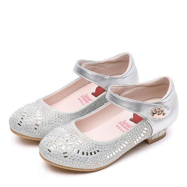 Jentas Round Toe Lukket Tå Ekte lær flat Heel Flate sko Flower Girl Shoes med Velcro Crystal