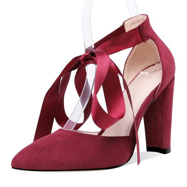 Женщины Замша Круглый зауженный каблук Сандалии На каблуках Закрытый мыс с Лента Шнуровка обувь