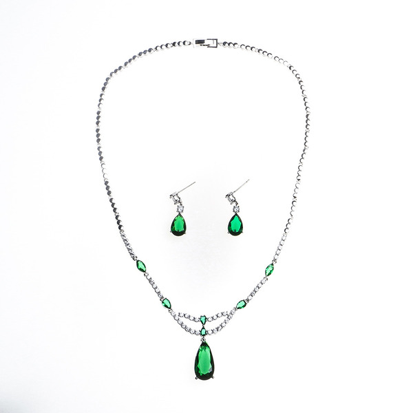 Ladies' Beautiful Copper/Platinum Plated With Cubic Cubic Zirconia Jewelry Sets For Bride/For Bridesmaid