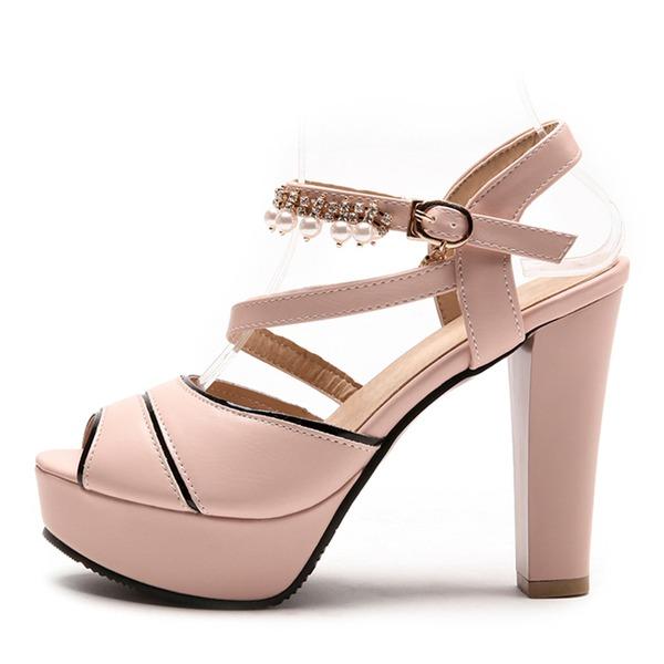 Naisten Keinonahasta Chunky heel Sandaalit Avokkaat Platform Peep toe jossa Jäljitelmä Helmi kengät