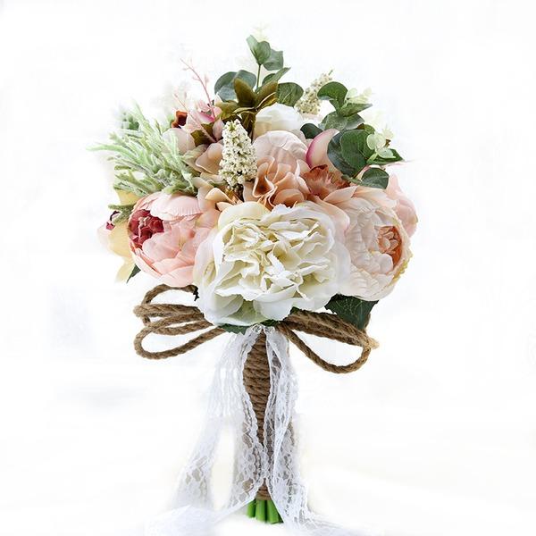 Classic Round Satin Bridal Bouquets/Bridesmaid Bouquets (Sold in a single piece) - Bridal Bouquets