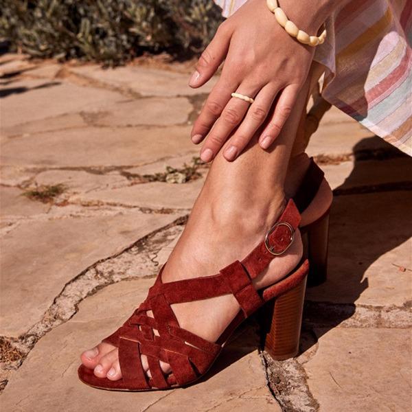 Vrouwen PU Chunky Heel Sandalen met Hol-out schoenen