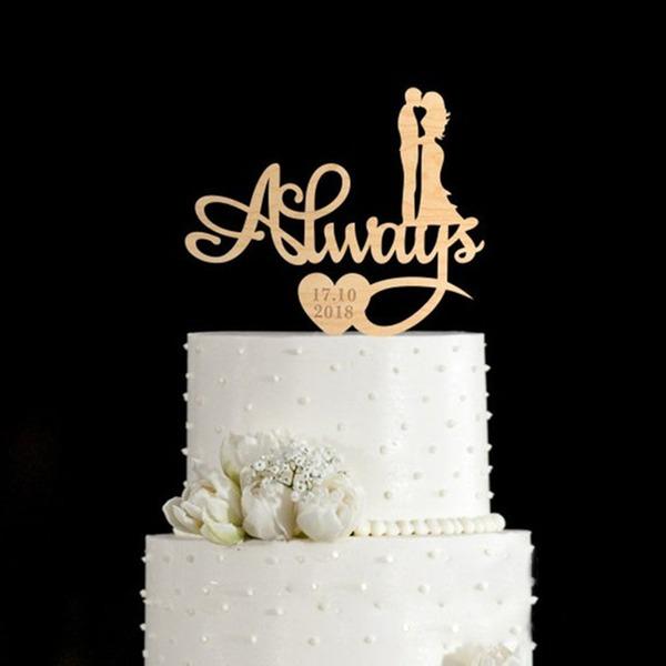 Personalizado Beijo do casal Madeira Decorações de bolos