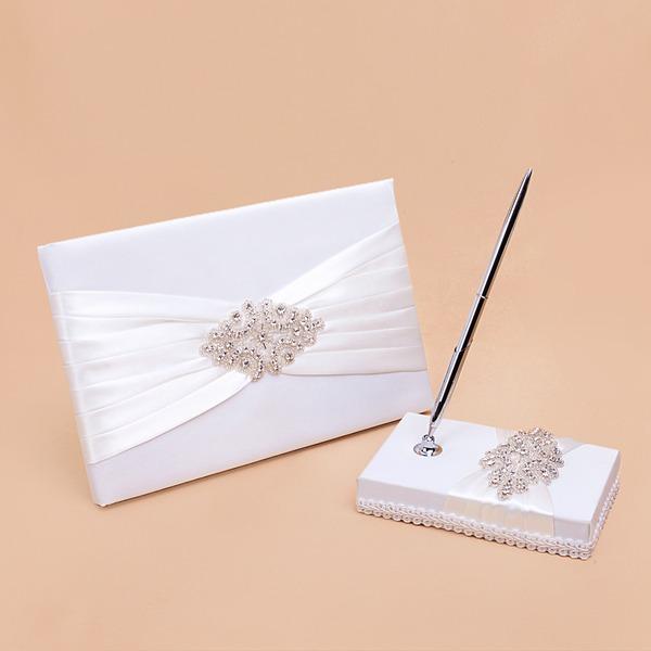 Elegante Diamantes de imitación/Arco Libro de visitas & sistema de la pluma