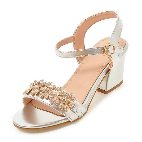 Femmes Similicuir Talon bottier Sandales Escarpins À bout ouvert avec Strass Boucle chaussures