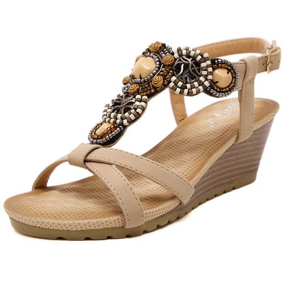 Dámské Koženka Klínový podpatek Sandály S Zdobení korálky obuv