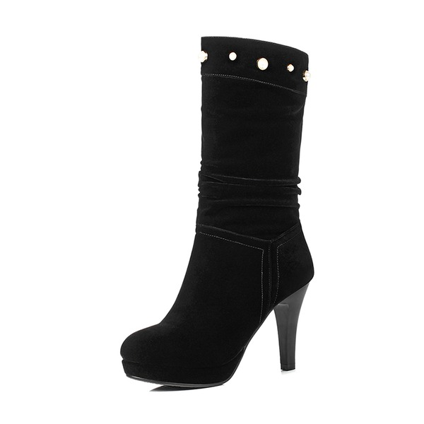 Women's Suede Stiletto Heel Pumps Platform Boots Mid-Calf Boots With Rhinestone shoes
