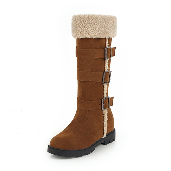 Kvinder Ruskind Lav Hæl Lukket Tå Støvler Knæhøje Støvler Snestøvler med Spænde Pels sko