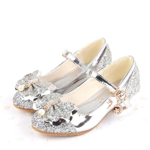 Mädchens Geschlossene Zehe funkelnden Glitter niedrige Ferse Absatzschuhe Blumenmädchen Schuhe mit Bowknot Schnalle