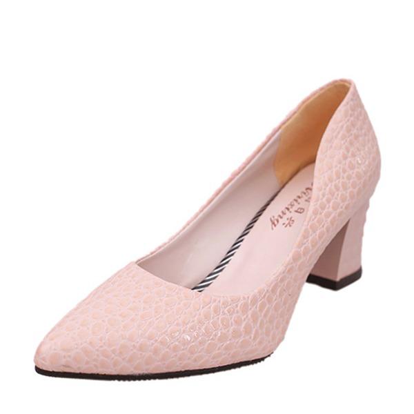 Женщины кожа Устойчивый каблук На каблуках Закрытый мыс обувь