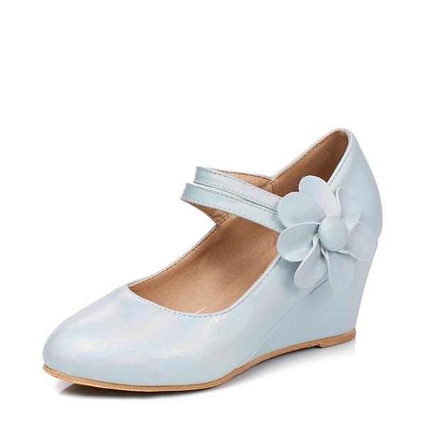 Kadın PU Dolgu Topuk Kapalı Toe Takozlar Ile Çiçek(ler) ayakkabı