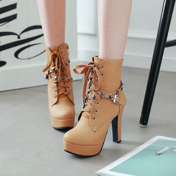 Femmes PU Talon bottier Escarpins Plateforme Bottes avec Rivet Zip Dentelle chaussures