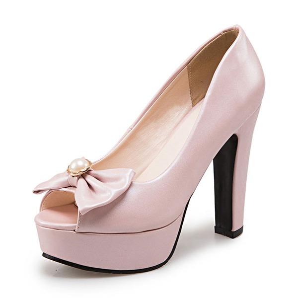Femmes PU Talon bottier Sandales Escarpins Plateforme À bout ouvert avec Bowknot chaussures
