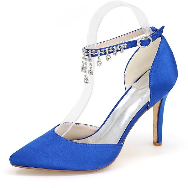 Женщины шелка как атласное Высокий тонкий каблук Сандалии На каблуках Закрытый мыс с горный хрусталь Цепь обувь