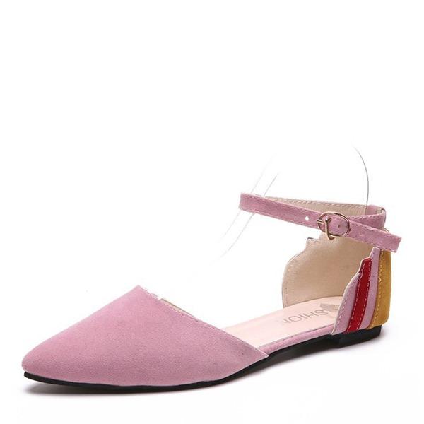 Frauen Veloursleder Flascher Absatz Sandalen Flache Schuhe Geschlossene Zehe mit Zweiteiliger Stoff Schuhe