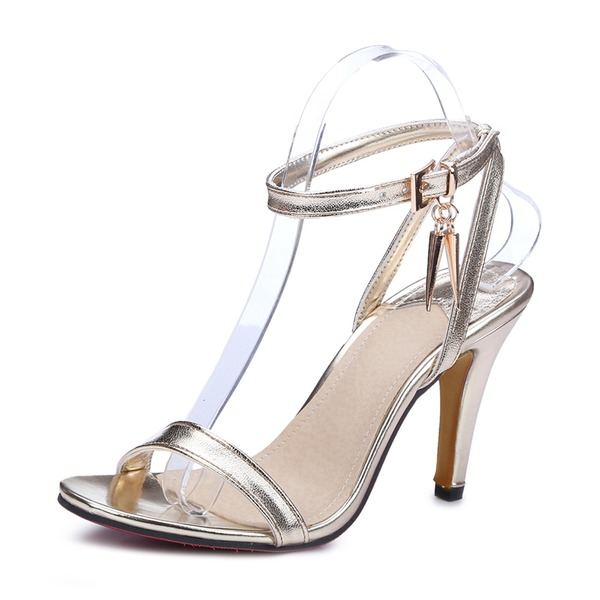 Donna Similpelle Tacco a spillo Sandalo Stiletto con Fibbia scarpe