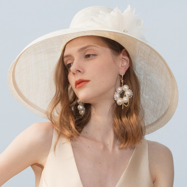 Ladies' Classic/Elegant/Simple/Vintage/Artistic Cambric With Feather/Rhinestone Beach/Sun Hats