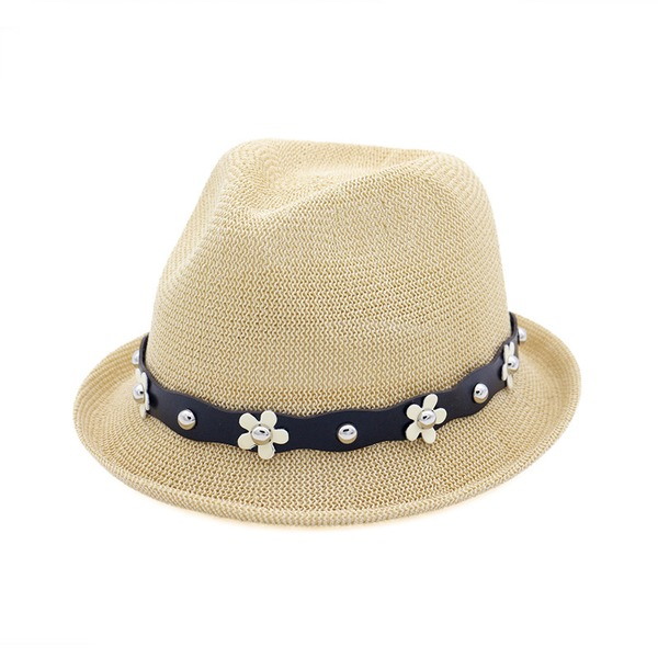 Ladies' Simple Rattan Straw Floppy Hat